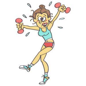 82585822-grappig-beeldverhaal-met-vrouw-die-aerobics-beklemtoonde-en-al-zweterige-vectordieillustratie-uitoef
